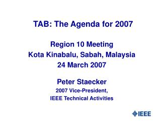 TAB: The Agenda for 2007
