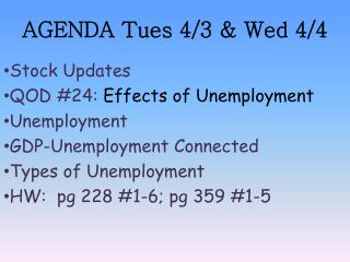 AGENDA Tues 4/3 & Wed 4/4