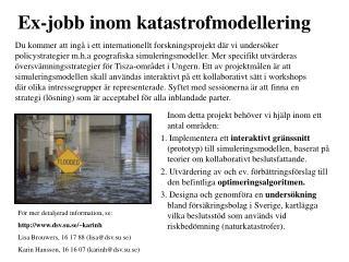 Ex-jobb inom katastrofmodellering
