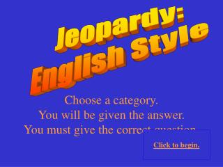 Jeopardy: English Style