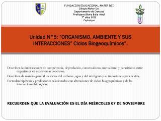 Unidad  N�5: �ORGANISMO, AMBIENTE Y SUS INTERACCIONES� Ciclos  Biogeoqu�micos �.