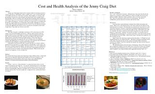 Cost and Health Analysis of the Jenny Craig Diet Marissa Angeletti Beloit College, Beloit, WI