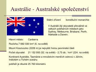 Austrálie - Australské společenství