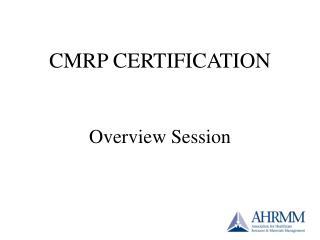 CMRP CERTIFICATION