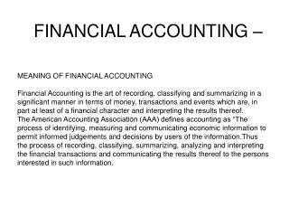 FINANCIAL ACCOUNTING –
