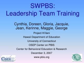 SWPBS: Leadership Team Training
