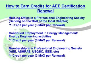 How to Earn Credits for AEE Certification Renewal