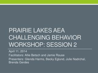 Prairie Lakes AEA Challenging Behavior Workshop: Session 2