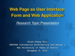 Web Page as User Interface: Form and Web Application Research Topic Presentation