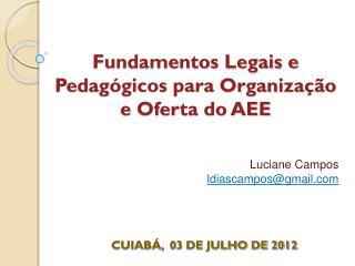 Fundamentos Legais e Pedagógicos para Organização e Oferta do AEE