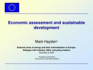Economic assessment and sustainable development