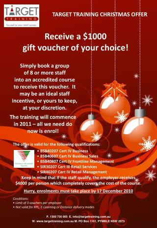 Receive a $1000  gift voucher of your choice!
