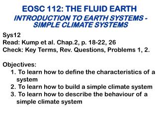 EOSC 112: THE FLUID EARTH