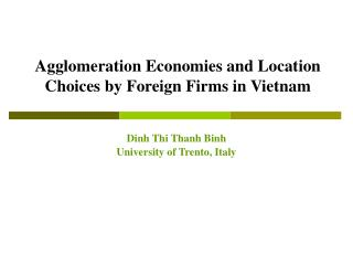 Agglomeration Economies and Location Choices by Foreign Firms in Vietnam