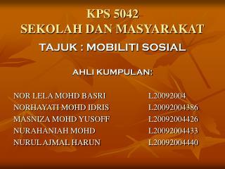 KPS 5042 SEKOLAH DAN MASYARAKAT