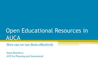 Open Educational Resources in AUCA