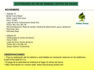 ACTIVIDADES DE FIN DE SEMANA CENTRO DE FAUNA