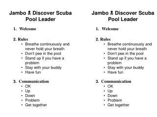 Jambo  Discover Scuba Pool Leader