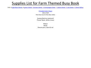 Supplies List for Farm Themed Busy Book