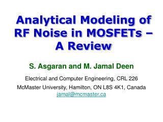 Analytical Modeling of RF Noise in MOSFETs – A Review