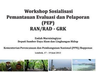 Workshop Sosialisasi  Pemantauan Evaluasi dan Pelaporan (PEP) RAN/RAD - GRK