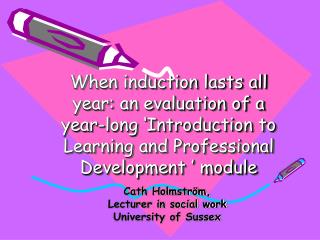 Cath Holmström, Lecturer in social work University of Sussex