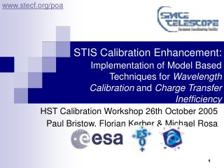 HST Calibration Workshop 26th October 2005  Paul Bristow, Florian Kerber & Michael Rosa