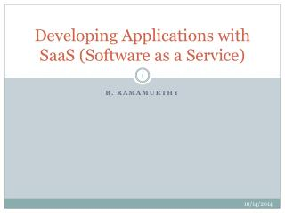 Developing Applications with SaaS (Software as a Service)