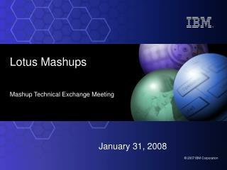 Lotus Mashups Mashup Technical Exchange Meeting