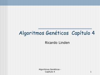 Algoritmos Genéticos  Capítulo 4