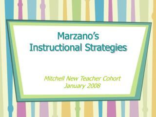 Marzano s  Instructional Strategies