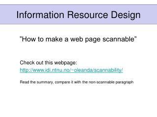 Information Resource Design