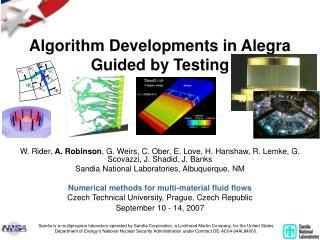 Algorithm Developments in Alegra Guided by Testing