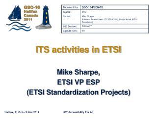 ITS activities in ETSI