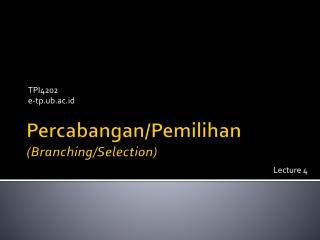 Percabangan / Pemilihan (Branching/Selection)
