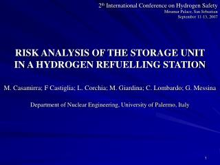 RISK ANALYSIS OF THE STORAGE UNIT  IN A HYDROGEN REFUELLING STATION