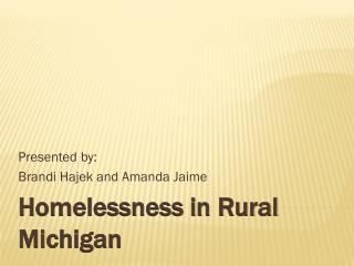 Homelessness in Rural Michigan