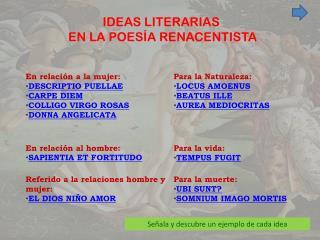IDEAS LITERARIAS  EN LA POESÍA RENACENTISTA