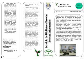 Boletín Nº 1                     DICIEMBRE 2004