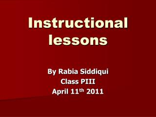 Instructional lessons