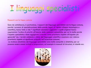 I linguaggi specialisti