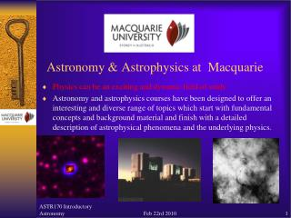 Astronomy & Astrophysics at  Macquarie