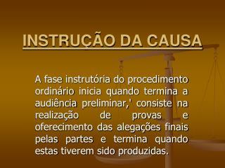 INSTRUÇÃO DA CAUSA