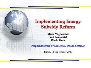 Implementing Energy  S ubsidy  R eform Maria Vagliasindi Lead Economist,  World  Bank