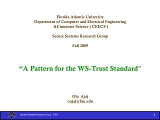 Florida Atlantic University Department of Computer and Electrical Engineering