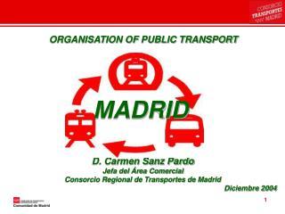D. Carmen Sanz Pardo Jefa del Área Comercial Consorcio Regional de Transportes de Madrid