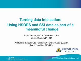 Turning data into action:  Using HSOPS and SSI data as part of a meaningful change