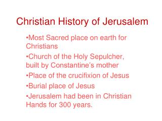 Christian History of Jerusalem