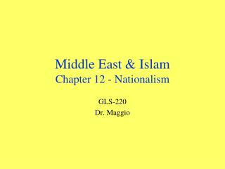 Middle East & Islam Chapter 12 - Nationalism