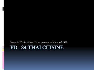 PD 184 Thai cuisine
